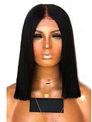 Χαμηλού Κόστους -Συνθετικές Περούκες Κατσαρά Ίσια Στυλ Μέσο μέρος Χωρίς κάλυμμα Περούκα Μαύρο Μαύρο / Μπλε Συνθετικά μαλλιά 14 inch Γυναικεία Γυναικεία Μαύρο Περούκα Μακρύ Φυσική περούκα