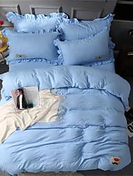 billige -Sengesett Ensfarget / Moderne Polyester Plisseret 4 delerBedding Sets