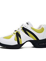 billiga -Dam Hip Hop & Street Dance Shoes Syntet Sneaker Tjock häl Dansskor Vit och grön