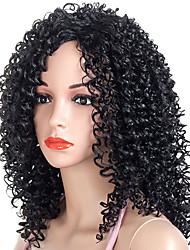 voordelige -Synthetische pruiken Afro Kinky Stijl Middelste stuk Zonder kap Pruik Zwart Zwart en Gold Synthetisch haar 20 inch(es) Dames Dames / synthetisch / Voor donkere huidskleur Zwart Pruik Gemiddelde Lengte