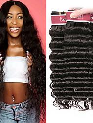 Недорогие -4 Связки Бразильские волосы Глубокий курчавый человеческие волосы Remy Человека ткет Волосы Пучок волос Накладки из натуральных волос 8-28 дюймовый Естественный цвет Ткет человеческих волос