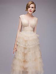 preiswerte -A-Linie Tiefer Ausschnitt Tee-Länge Tüll Kleid mit durch TS Couture®