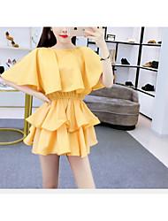 billige -kvinners knelangskjorte kjole hvit gul s m l