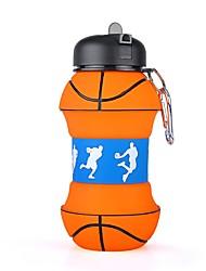 Недорогие -Бутылки для воды Складная бутылка для воды 550 ml Силиконовые PP для Отдых и Туризм Охота Рыбалка 1 pcs Черный / оранжевый
