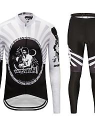 お買い得  -MUBODO 男性用 長袖 タイツ付きサイクリングジャージー ブラック / ホワイト バイク スーツウェア 高通気性 速乾性 反射性ストリップ スポーツ メッシュ マウンテンサイクリング ロードバイク 衣類 / 伸縮性あり