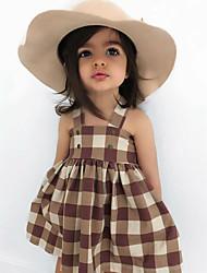 hesapli -Bebek Genç Kız Actif / Temel Desen Desen Kolsuz Diz üstü Pamuklu Elbise Kahverengi