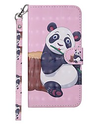 billige -Etui Til Samsung Galaxy Galaxy A10 (2019) Pung / Kortholder / Med stativ Fuldt etui Panda Hårdt PU Læder for Galaxy A10 (2019)