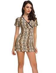 Недорогие -женское мини платье-футляр глубокий v чёрный жёлтый серый m l xl xxl