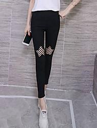 baratos -Mulheres Básico / Moda de Rua Chinos Calças - Sólido Preto