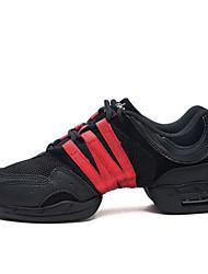 olcso -Női Jazz cipők Vászon Sportcipő Vastag sarok Dance Shoes Fekete / Fekete / Vörös