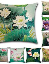 Недорогие -1 штук Хлопок / Лён Наволочка, Цветы 3D-печати На каждый день Мода Бросить подушку