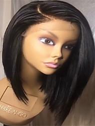 Χαμηλού Κόστους -Συνθετικές μπροστινές περούκες δαντέλας Φυσικό ευθεία Στυλ Πλευρικό μέρος Δαντέλα Μπροστά / Χωρίς κάλυμμα Περούκα Μαύρο Κατάμαυρο Συνθετικά μαλλιά 14 inch Γυναικεία / Φυσική γραμμή των μαλλιών