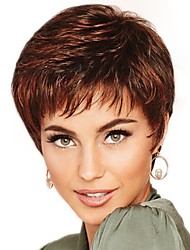 cheap -Synthetic Wig / Bangs Curly Style Free Part Capless Wig Brown Brown / Burgundy Synthetic Hair 12 inch Women's Fashionable Design / Women / Synthetic Brown Wig Short Natural Wigs / For Black Women