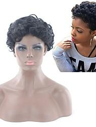 abordables -Pelucas sintéticas Afro Kinky Estilo Parte media Sin Tapa Peluca Negro Negro Pelo sintético 6 pulgada Mujer Mujer Negro Peluca Corta Peluca natural