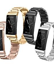 Недорогие -Ремешок для часов для Fitbit Charge 3 Fitbit Классическая застежка Нержавеющая сталь Повязка на запястье