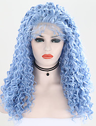 abordables -Peluca Lace Front Sintéticas Rizado Estilo Parte libre Encaje Frontal Peluca Azul Azul Claro Pelo sintético 24 pulgada Mujer Ajustable / Resistente al Calor / Fiesta Azul Peluca Larga Peluca natural