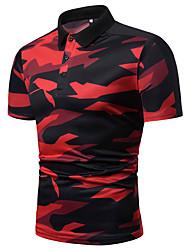billige -Herre - Farveblok / camouflage Trykt mønster Polo Rød XL