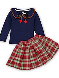 tanie -Dzieci / Brzdąc Dla dziewczynek Aktywny / Podstawowy Solidne kolory / Kratka Łuk / Wiązanie Długi rękaw Regularny Regularny Bawełna / Poliester Komplet odzieży Niebieski
