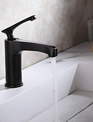 رخيصةأون -بالوعة الحمام الحنفية - واسع الانتشار الكروم / برونز مفروك بزيت / أسود في وسط التعامل مع واحد ثقب واحدBath Taps