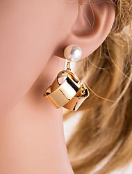 levne -Dámské Stříbrná Zlatá Geometrické Visací náušnice Napodobenina perel Náušnice Evropský Šperky Zlatá / Stříbrná Pro Denní 1 Pair