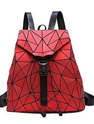 رخيصةأون -نسائي أكياس PU حقيبة ظهر أزرار نموذج هندسي أحمر / رمادي / ذهبي فاتح