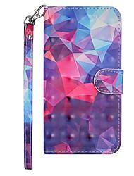 Недорогие -Кейс для Назначение Nokia Nokia 7.1 Кошелек / Бумажник для карт / со стендом Чехол Геометрический рисунок / Градиент цвета Твердый Кожа PU