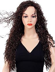 abordables -Pelucas sintéticas Afro Kinky Estilo Parte libre Sin Tapa Peluca Marrón Oscuro Marrón / Borgoña Pelo sintético 28 pulgada Mujer Diseños de Moda / Mujer / sintético Marrón Oscuro Peluca Larga Peluca