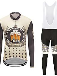お買い得  -MUBODO 男性用 長袖 ビブタイツ付きサイクリングジャージー ブラック / イエロー バイク スーツウェア 高通気性 速乾性 反射性ストリップ スポーツ メッシュ マウンテンサイクリング ロードバイク 衣類 / 伸縮性あり