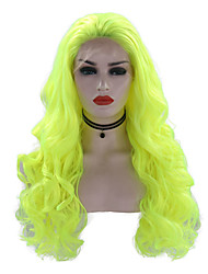 cheap -Synthetic Lace Front Wig Wavy Style Free Part Lace Front Wig Green fluorescent green Synthetic Hair 24 inch Women's Adjustable / Heat Resistant / Party Green Wig Long Cosplay Wig