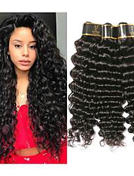 olcso -3 csomag Brazil haj Mély hullám Kémiai anyagoktól mentes / nyers Az emberi haj sző Bundle Hair Emberi haj tincsek 8-28 hüvelyk Természetes szín Emberi haj sző Szagmentes Kreatív Selymes Human Hair