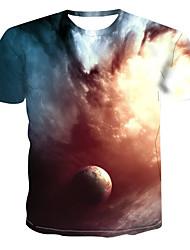 billiga -Tryck, Galax / Färgblock / 3D T-shirt Herr Grå XXXXL