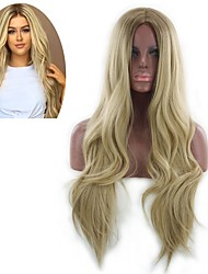 cheap -Synthetic Wig Curly Style Middle Part Capless Wig Golden Light golden Synthetic Hair 22 inch Women's Women Golden Wig Long Natural Wigs