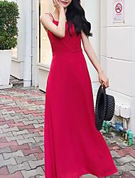 رخيصةأون -المرأة فستان ماكسي خط حزام أحمر xs s m l