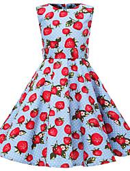 abordables -Niños Chica Vintage / Estilo lindo Fruta Estampado Sin Mangas Hasta la Rodilla Algodón Vestido Azul Piscina
