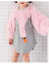 hesapli -Bebek Genç Kız Temel Zıt Renkli Uzun Kollu Polyester Bluz Gri