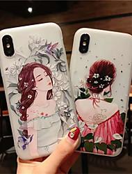 저렴한 -케이스 제품 Apple iPhone X / iPhone XS Max 반투명 / 패턴 뒷면 커버 카툰 / 꽃장식 소프트 TPU 용 iPhone XS / iPhone XR / iPhone XS Max