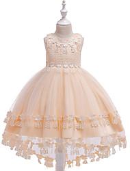 preiswerte -Kinder Mädchen Aktiv / Süß Solide Bestickt Ärmellos Asymmetrisch Kleid Rote