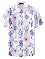 お買い得  -男性用 シャツ フラワー ホワイト XL