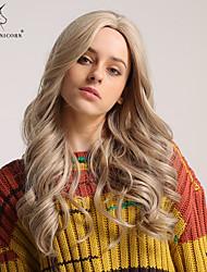 Χαμηλού Κόστους -Συνθετικές Περούκες Σγουρά / Bouncy Curl Στυλ Ασύμμετρο κούρεμα Χωρίς κάλυμμα Περούκα Ξανθό Ανοικτό Χρυσαφί Συνθετικά μαλλιά 24 inch Γυναικεία Μοδάτο Σχέδιο / συνθετικός / Φυσική γραμμή των μαλλιών