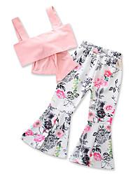 levne -Děti / Toddler Dívčí Aktivní / Základní Květinový Volná záda / Mašle / Tisk Bez rukávů Standardní Standardní Bavlna / Polyester Sady oblečení Světlá růžová