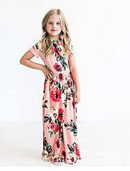 preiswerte -Kinder Mädchen Süß / nette Art Blumen Druck Kurzarm Maxi Baumwolle Kleid Rosa