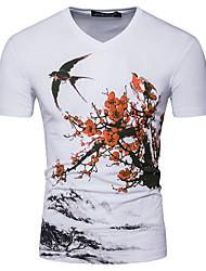billige -Herre - Blomstret T-shirt Hvid L