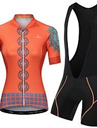 Недорогие -Malciklo Жен. С короткими рукавами Велокофты и велошорты-комбинезоны Розовый Оранжевый + белый Оранжевый / черный Цветочные ботанический Велоспорт Наборы одежды / Эластичная / Дышащий