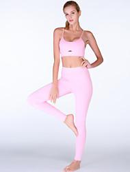 ราคาถูก -ชุดกีฬา Outfits / Yoga สำหรับผู้หญิง การฝึกอบรม / Performance Elastane / polyster ขวิด ธรรมชาติ เสื้อกั๊ก / กางเกง
