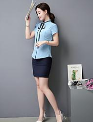 رخيصةأون -نسائي أزرق أبيض XL XXL XXXL العباءة أساسي لون سادة