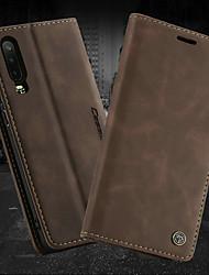 Недорогие -Кейс для Назначение Huawei Huawei P30 / Huawei P30 Pro / Huawei P30 Lite Кошелек / Бумажник для карт / со стендом Чехол Однотонный Твердый Кожа PU