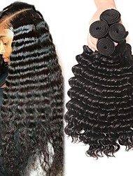 Недорогие -4 Связки Бразильские волосы Крупные кудри Не подвергавшиеся окрашиванию Человека ткет Волосы Пучок волос Накладки из натуральных волос 8-28 дюймовый Естественный цвет Ткет человеческих волос