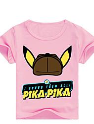 billige -Børn / Baby Drenge Basale Trykt mønster Trykt mønster Kortærmet Bomuld / Spandex T-shirt Lyserød