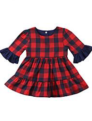 abordables -bébé Fille Actif / Basique Pied-de-poule A Volants Manches 3/4 Coton Robe Rouge