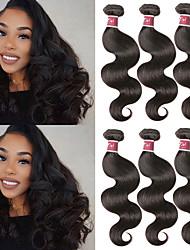 billige -6 Bundler malaysisk hår Krop Bølge Ubehandlet Menneskehår 100% Remy Hair Weave Bundles Menneskehår, Bølget Udvidelse Bundle Hair 8-28 inch Naturlig Farve Menneskehår Vævninger Lugtfri Blød Silkeagtig